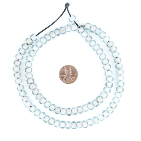 Aqua Marine White Heart Beads (8mm) - The Bead Chest