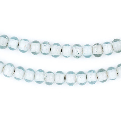 Image of Aqua Marine White Heart Beads (8mm) - The Bead Chest
