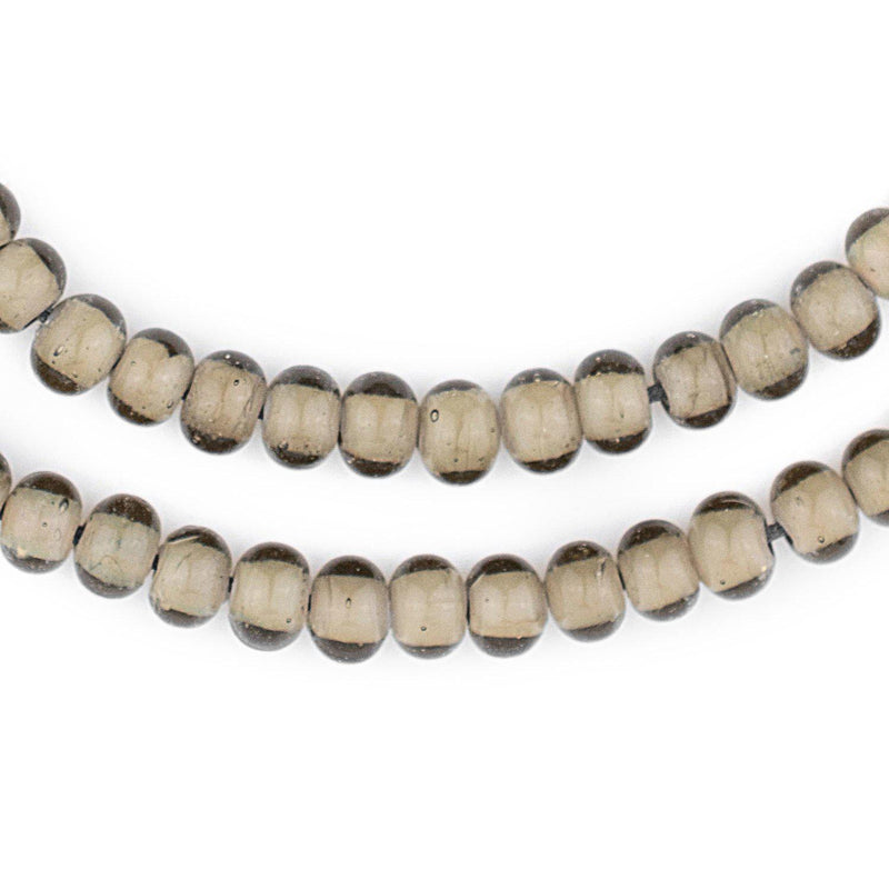 Groundhog Grey White Heart Beads (8mm) - The Bead Chest