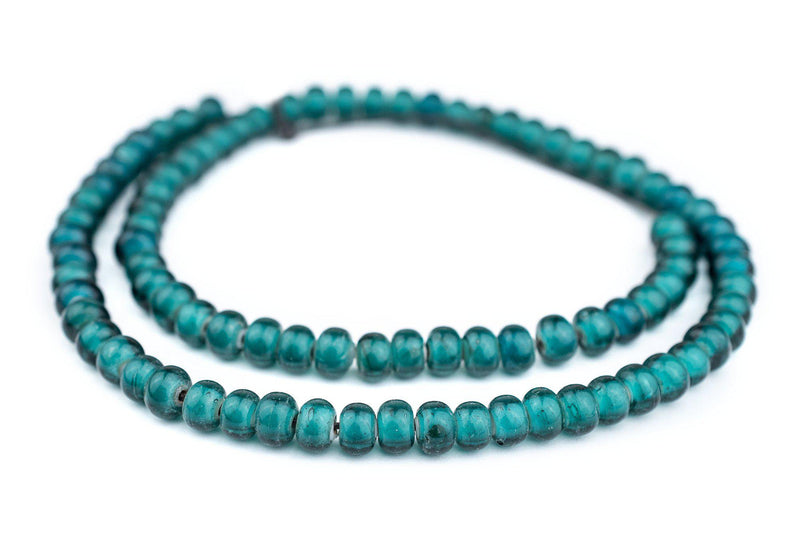 Teal White Heart Beads (9mm) - The Bead Chest