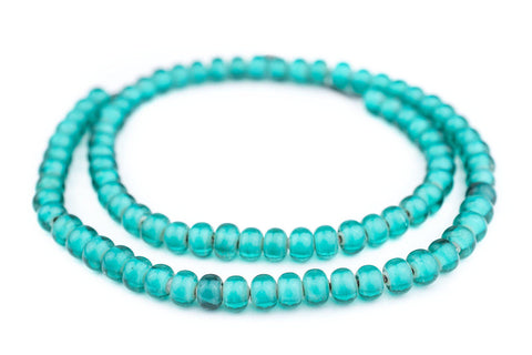 Seafoam Green White Heart Beads (8mm) - The Bead Chest