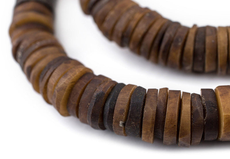 Brown Coconut Bone Heishi Beads (14mm) - The Bead Chest