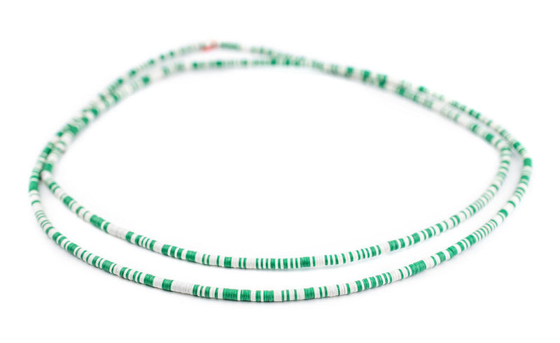 Green & White Vinyl Phono Record Beads (3mm) - The Bead Chest