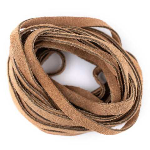 6.0mm Tan Flat Suede Leather Cord (15ft)
