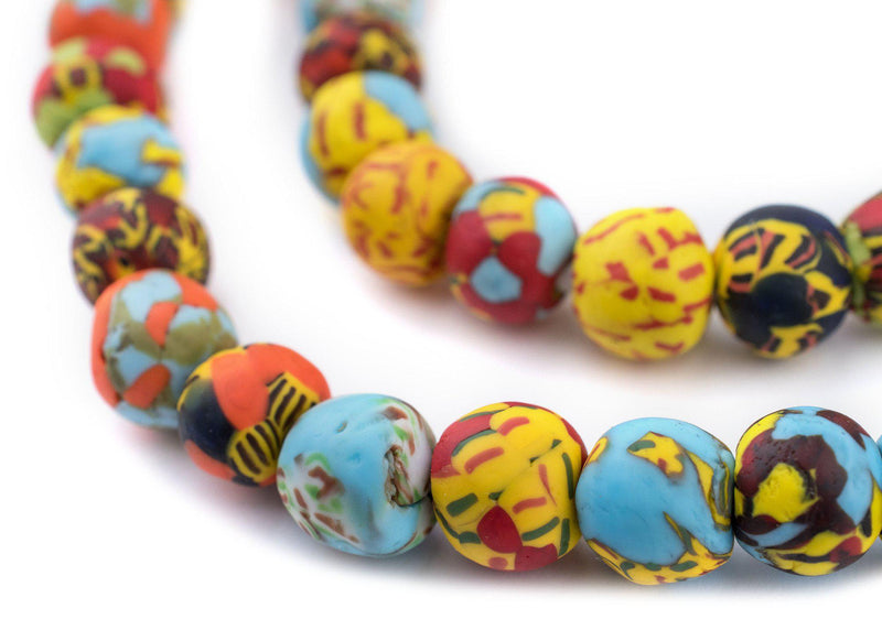 House Medley Round Fused Recycled Glass Beads (14mm) - The Bead Chest