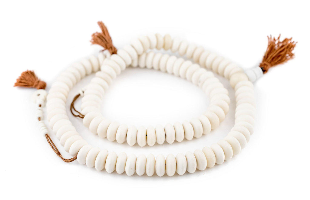 White Bone Mala Disk Beads (14mm) - The Bead Chest