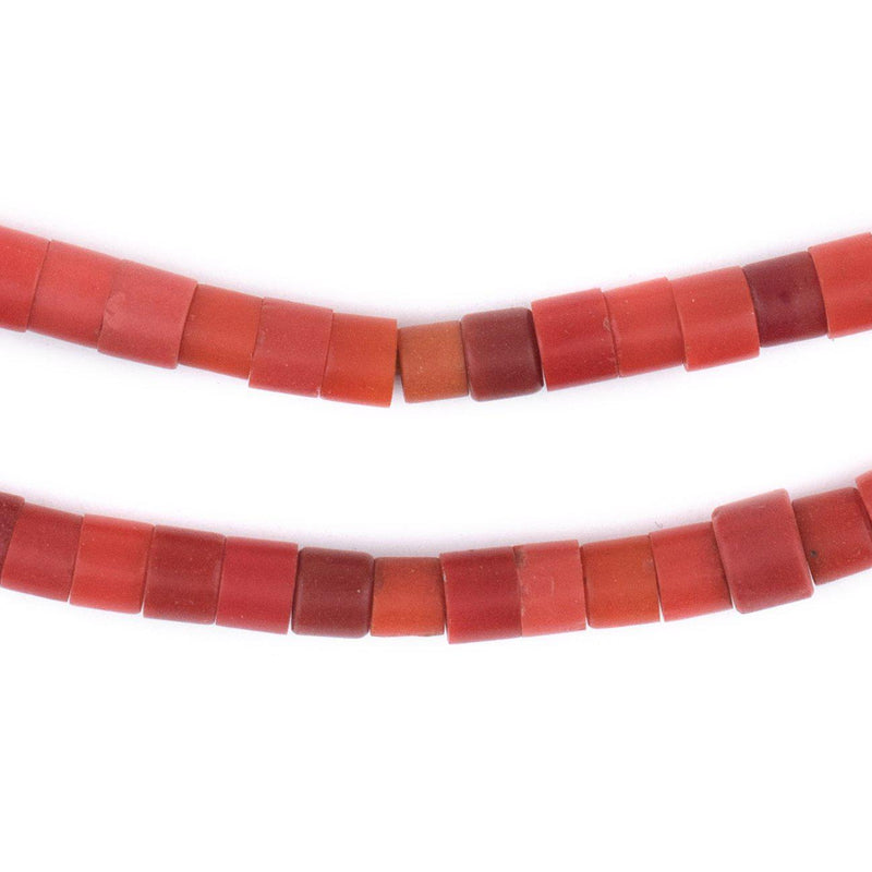 Vintage Czech Red Cylinder Beads (6mm) - The Bead Chest