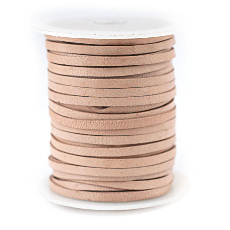 3.0mm Natural Flat Leather Cord (75ft)