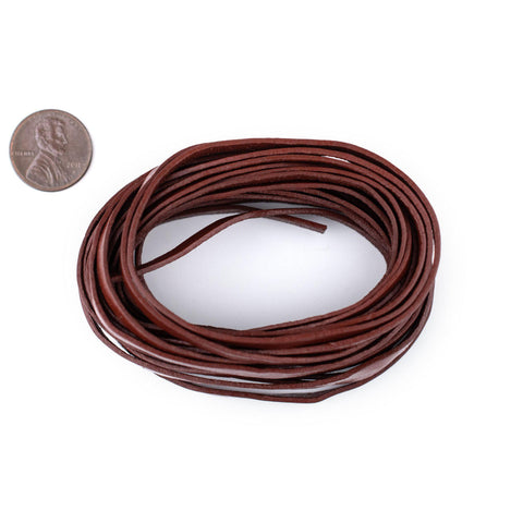 4.0mm Brown Flat Leather Cord (15ft)
