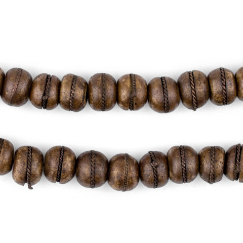 Copper Inlaid Brown Bone Mala Beads (10mm) - The Bead Chest