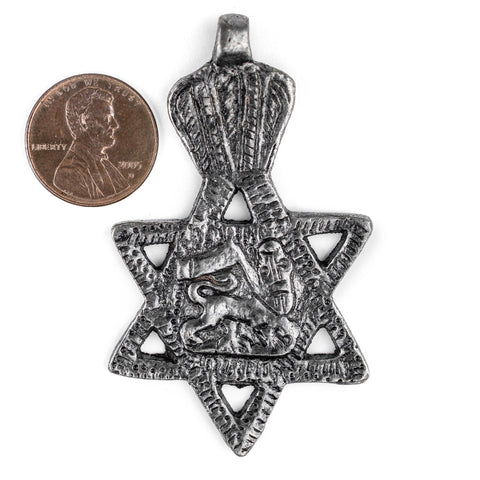 Silver Lion of Judah Star Pendant (62x38mm) - The Bead Chest