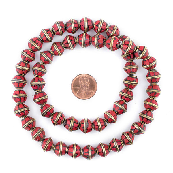 Coral Bicone Inlaid Nepali Brass Beads (10x11mm)