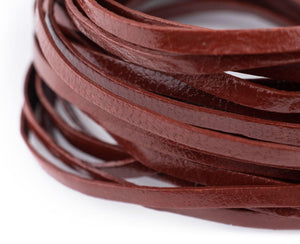 3.0mm Brown Flat Leather Cord (15ft)