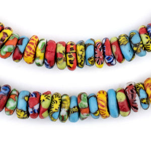 Cape Coast Fused Rondelle Recycled Glass Beads (11mm) - The Bead Chest