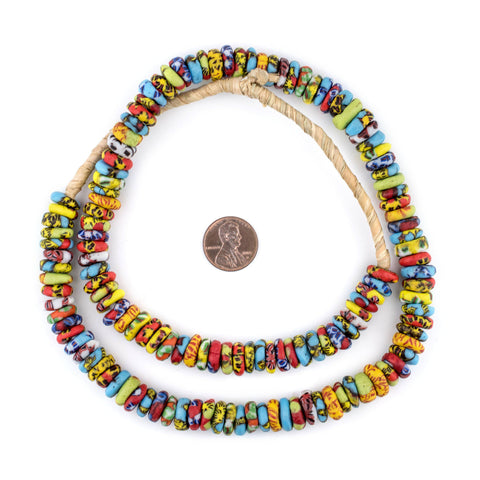 Image of Cape Coast Fused Rondelle Recycled Glass Beads (11mm) - The Bead Chest