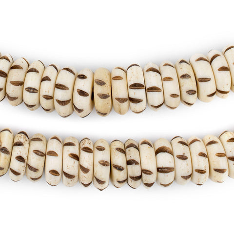 Mountain Beige Carved Disk Bone Mala Beads (13mm) - The Bead Chest