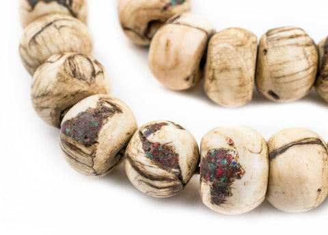Dark Inlaid Naga Conch Shell Beads (14mm) - The Bead Chest