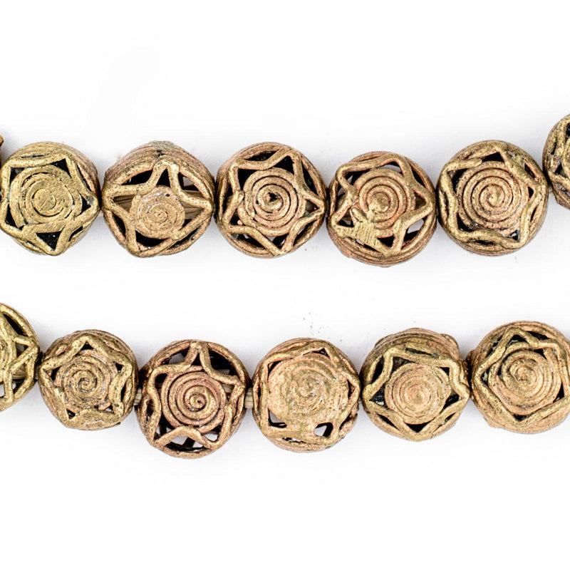 Circular Star Brass Filigree Beads (12mm) - The Bead Chest