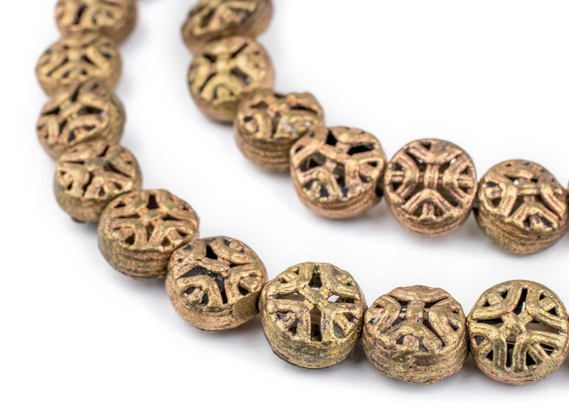 Circular Cross Brass Filigree Beads (12mm) - The Bead Chest