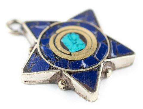 Blue & Turquoise Nepal Five Star Pendant - The Bead Chest