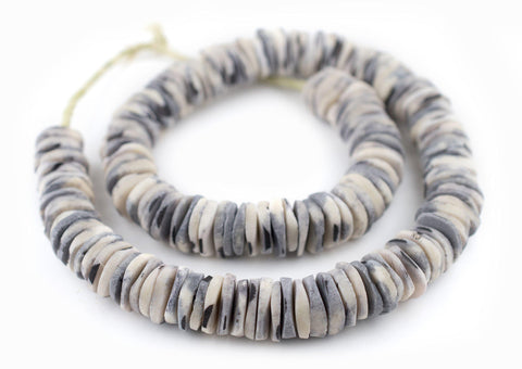 Splotchy Grey Coconut Bone Heishi Beads (18mm) - The Bead Chest