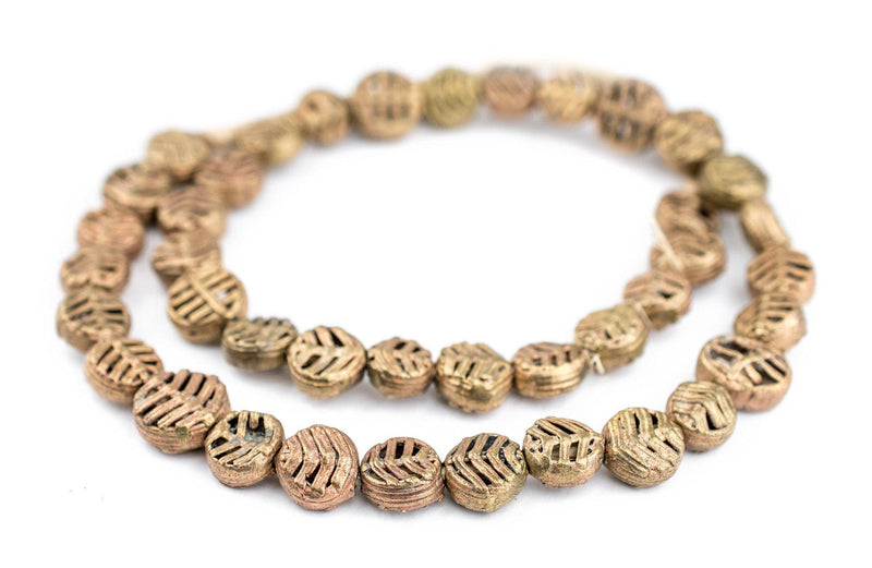 Circular Leaf Ghana Brass Filigree Beads (12mm) - The Bead Chest