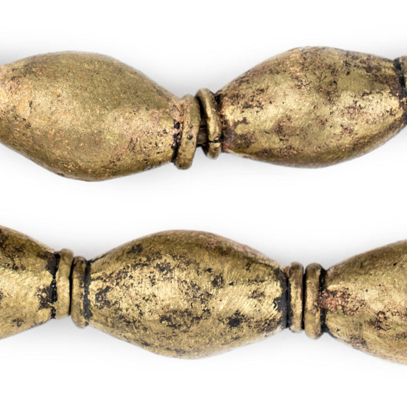 Jumbo Nigerian Brass Elongated Oval Beads (37x22mm) - The Bead Chest
