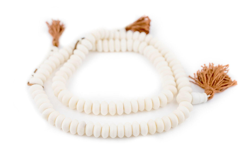 White Bone Mala Disk Beads (10mm) - The Bead Chest