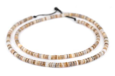 Beige Natural Shell Heishi Beads (5mm) - The Bead Chest
