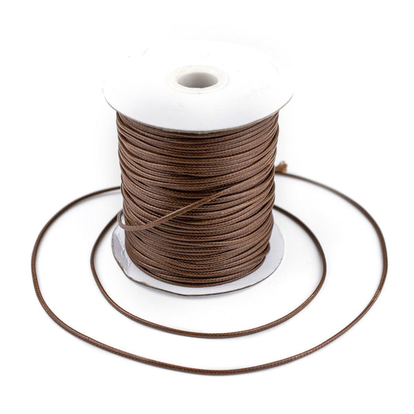 2mm Light Brown Waxed Polyester Cord (250ft)