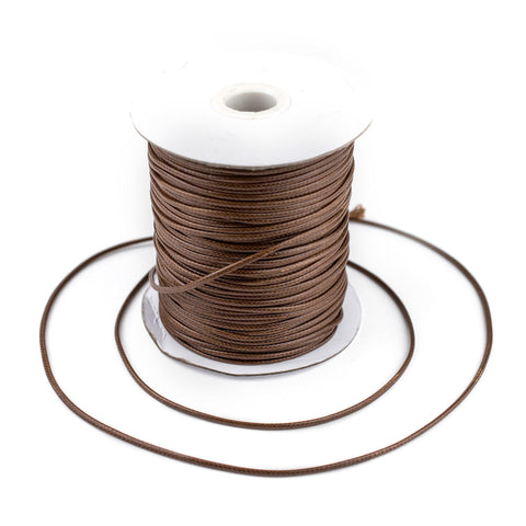 2mm Light Brown Waxed Polyester Cord (250ft) - The Bead Chest