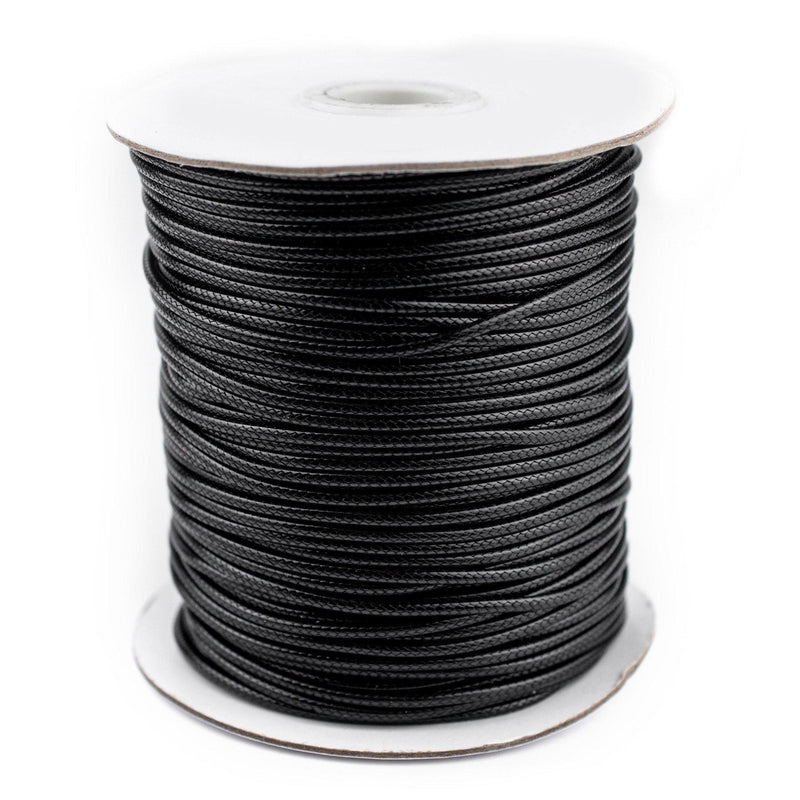 2mm Black Waxed Polyester Cord (250ft) - The Bead Chest
