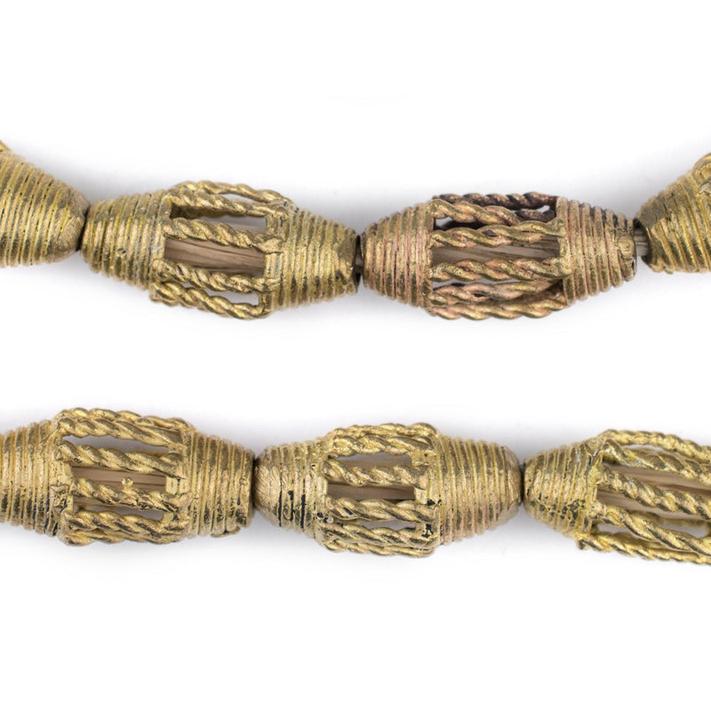 Braided Brass Filigree Oval Beads (24x15mm) - The Bead Chest