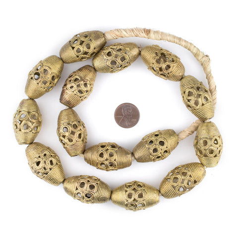 Jumbo Bicone Ghana Brass Filigree Beads (34x21mm) - The Bead Chest