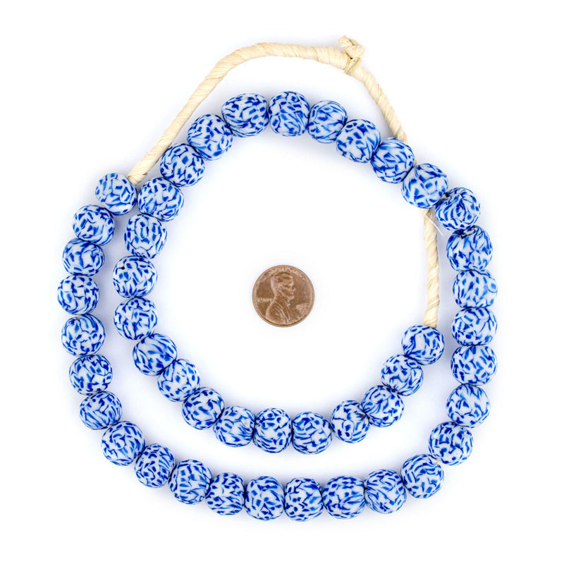 Blue & White Fused Recycled Glass Beads - The Bead Chest