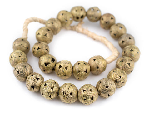 Image of Cameroon-Style Brass Filigree Globe Beads (20mm) - The Bead Chest