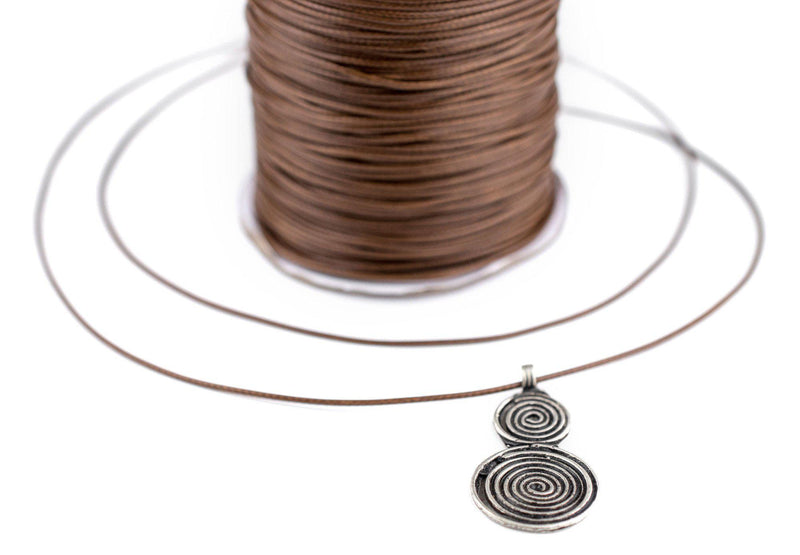 1mm Light Brown Waxed Polyester Cord (500ft) - The Bead Chest