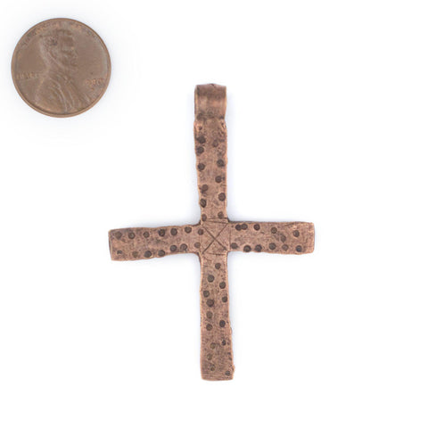 Hammered Dot Ethiopian Copper Cross Pendant - The Bead Chest