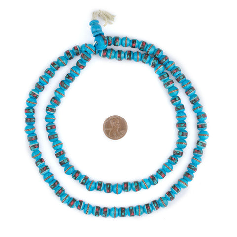 Image of Sapphire Blue Inlaid Bone Mala Beads (8mm) - The Bead Chest