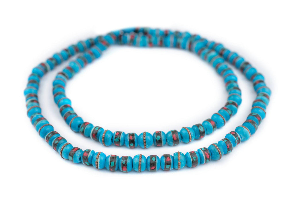 Sapphire Blue Inlaid Bone Mala Beads (8mm) - The Bead Chest
