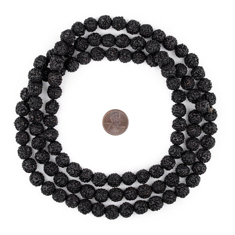 Black Rudraksha Mala Prayer Beads (10mm) - The Bead Chest