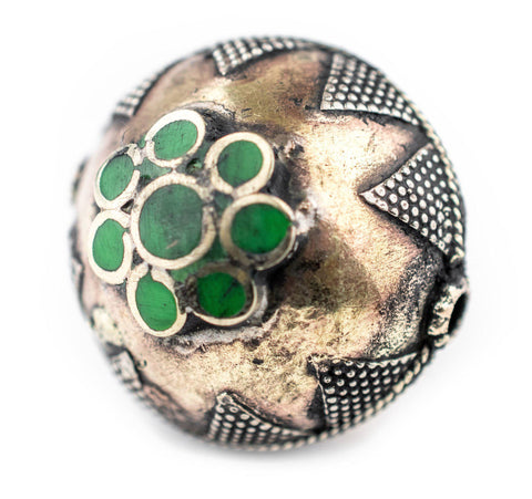 Bright Green Round Inlaid Afghani Brass Bead Pendant (31x28mm) - The Bead Chest