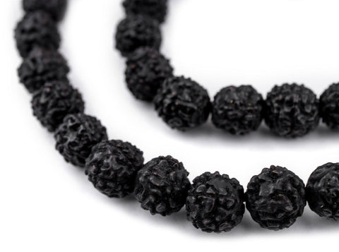 Image of Black Rudraksha Mala Prayer Beads (10mm) - The Bead Chest