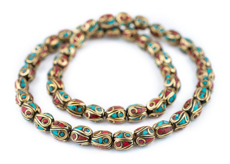 Multicolor Oval Inlaid Nepali Brass Beads (11x9mm) - The Bead Chest