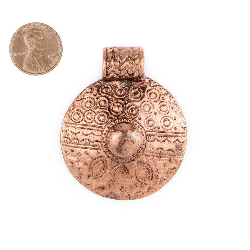Copper Tribal Shield Pendant (55x45mm) - The Bead Chest