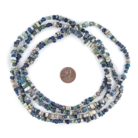 Blue & White Ancient Djenne Nila Glass Beads - The Bead Chest