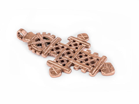 Image of Copper Coptic Cross Pendant (86x50mm) - The Bead Chest
