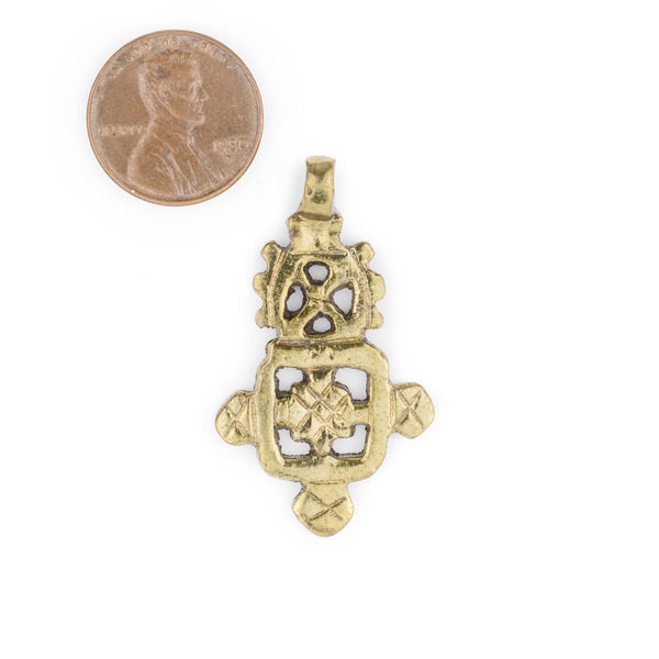 Brass Ethiopian Coptic Cross (40x24mm)