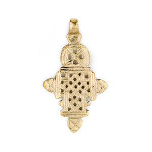 Brass Ethiopian Coptic Cross (66x37mm) - The Bead Chest