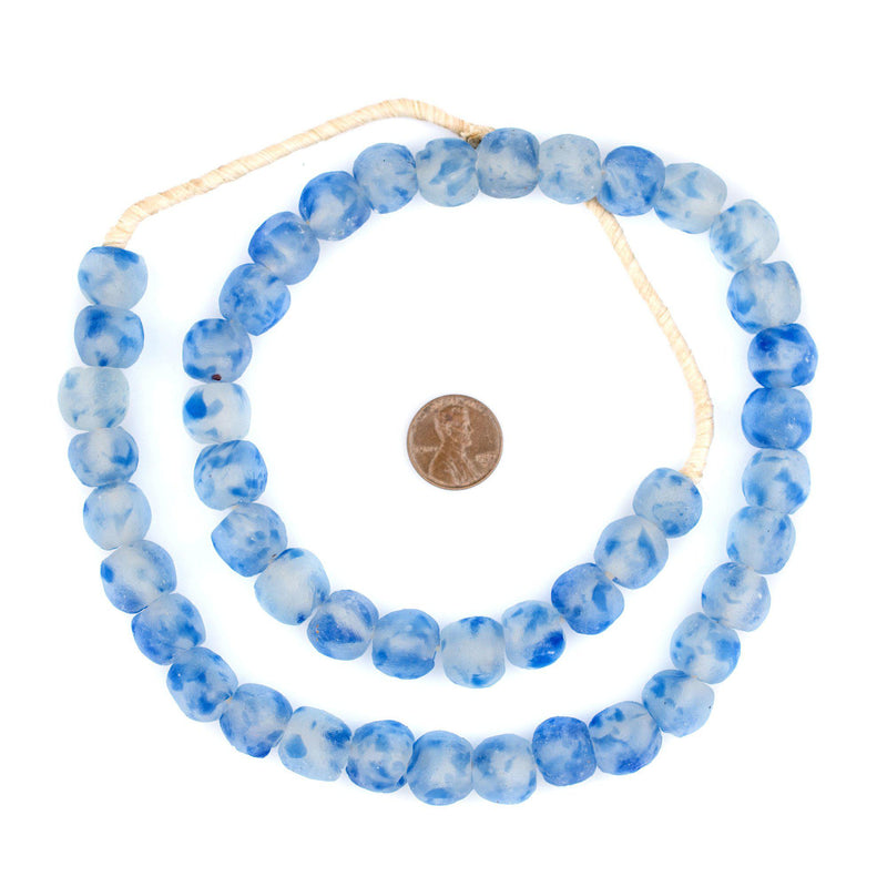 Speckled Cobalt Blue Recycled Glass Beads (14mm) - The Bead Chest